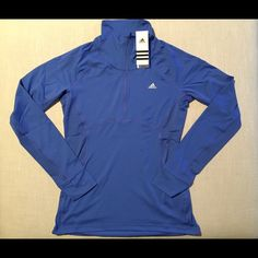 Adidas 1/4 Zip Climalite Pullover Available in other colors and sizes. This is a steal at this price so please no negotiations   Climalite® keeps your body dry by drawing sweat away from skin  Features: 1/4 zip pullover Stand-up collar Slimmer fit Wide cuffs with thumb holes Closed-hole mesh side panels for breathability Slight high-low hem  Body: 88% Polyester | 12% Spandex Body Insert: 78% Polyester | 22% Spandex  Sizing: S=4-6 | M=8-10 | L=12-14 | XL=16-18 | XXL=20-22 Back Body Length…