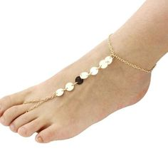 Gold Alloy Sequins Adjustable Barefoot Sandals