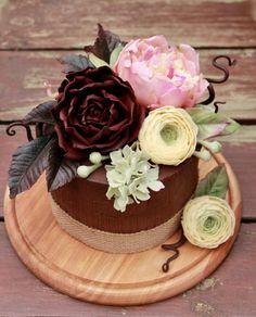 Chocolate cake & flowers  - cake by  Elena Ujshag