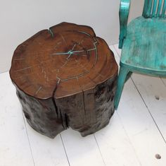 Tree stump table with turquoise inlayed ...what if i carved our initials in a heart in the front.. super cute!
