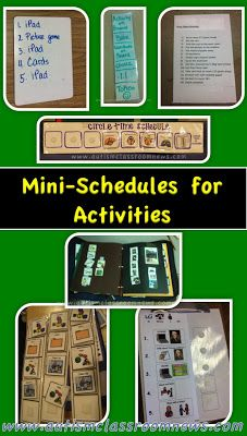 In autism classrooms we use schedules every minute of the day.  These are some examples of using schedules to break down the steps within activities...there are more examples on the blog post...just click through.  Plus there is a free set of visuals for a mini-schedule for your child or classroom.