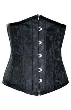 Black Steel Boned Authentic Underbust Corset