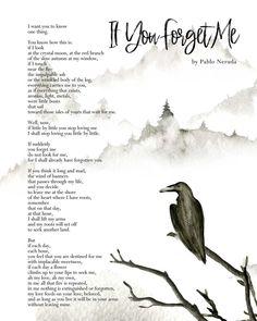 Pablo Neruda poetry art print quote Bedroom decor | Etsy