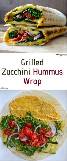 Grilled Zucchini Hummus Wrap Very delicious! I made it with hummus, red onion, red and orange peppers, salad, grilled zucchini and thats it :D New Recipes, Whole Food Recipes, Healthy Recipes, Eat Healthy, Healthy Wraps, Recipes With Hummus, Grilled Vegan Recipes, Healthy Tortilla Wraps, Grilled Zucchini Recipes