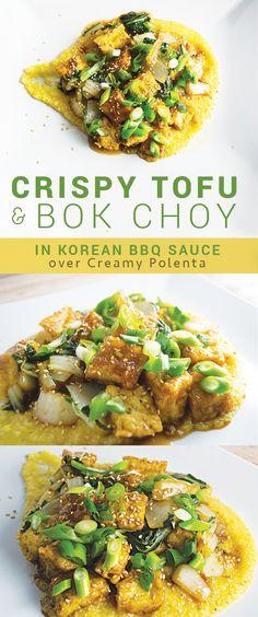 Crispy Tofu and Bok Choy in Korean BBQ Sauce over Creamy Polenta – Vegan & Delicious! // rootiful.com #vegan