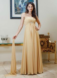 Strapless A-line with empire waist chiffon mother dress
