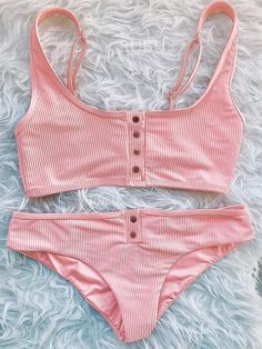 Button Up Crop Top Bikini: Push Up Sporty Ribbed Adjustable & More W. - Swimsuits - Ideas of Swimsuits - Button Up Crop Top Bikini: Push Up Sporty Ribbed Adjustable & More W. Bathing Suits For Teens, Summer Bathing Suits, Cute Bathing Suits, Sporty Swimwear, Sporty Bikini, Bikini Swimwear, Crop Top Bikini, Cute Swimsuits, Women Swimsuits