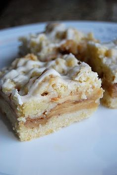 Apple Streusel Bars- I made these and used the 9x13 pan- they were excellent- I agree you dont need all of the icing- followed the recipe- I would leave the dough crumbly instead of gathering it into a ball- and then trying to roll flatten it and put it on top of the apples- the pea size pieces are much easier to spread out.  Either way we inhaled it