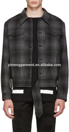 winter grey black plaid wool coat mens