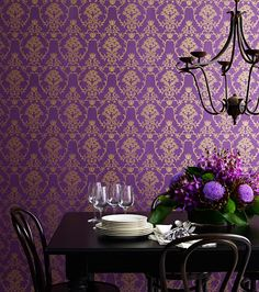 This traditional design uses an Australian native plant as its focal point the flannel flower. The flannel flower was an iconic floral emblem of the and in Australian decorating and we ha. Purple And Gold Wallpaper, Damask Wallpaper, Purple Gold, Designer Wallpaper, Shades Of Purple, Closet Wallpaper, Deep Purple, Funky Wallpaper, Wallpaper Designs