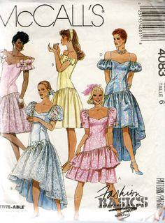 The age of the puffy prom dress .Vintage McCall s 1980 s Prom Dresses Pattern. Camo Homecoming Dresses, Puffy Prom Dresses, Bridal Dresses, Bridesmaid Dresses, Vintage Bridal, Dress Vintage, Vintage Sewing, Vintage Denim, Vintage Outfits