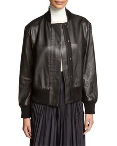 Bonded Leather Bomber Jacket, Black