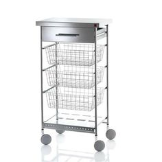 DHO Vegetable Cart With Three Baskets, Drawer And Wine Rack, Stainless Steel
