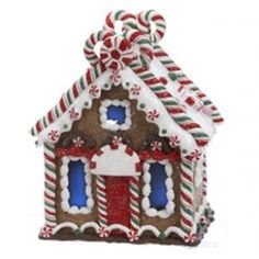 Kurt Adler Gingerbread Kisses LED Lighted Candy Cane House Christmas Decoration