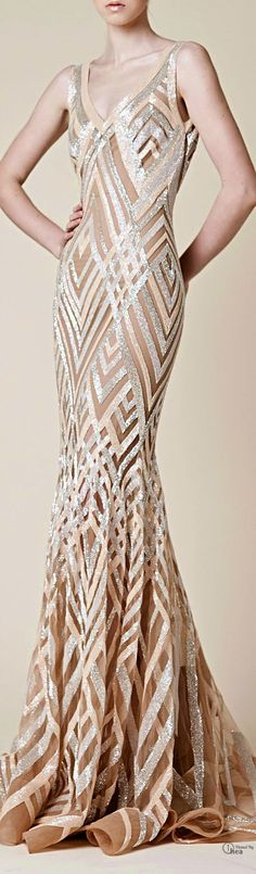 gorgeous GEOMETRIC #Gown.  stunning nude color fabric