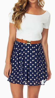 Navy Blue Polka Dot Color Block Belted Fit Flare Dress It's a little short if it was a little longer it would be perfect