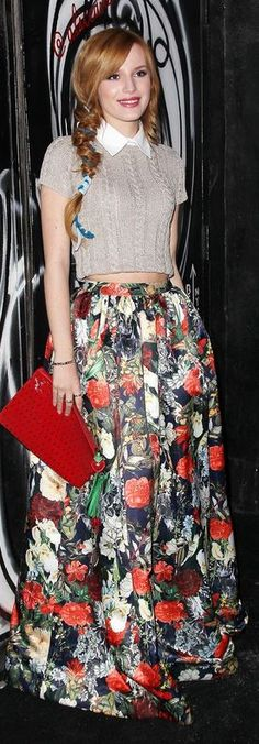 Who made Bella Thorne's floral maxi skirt, shoes, and short sleeve tan cable sweater that she wore in New York?