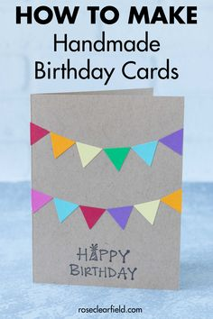 Learning to make simple DIY birthday cards will keep you stocked in cute handmade birthday cards for family and friends all year long! Diy Birthday Cards For Dad, Happy Birthday Cards Handmade, Creative Birthday Cards, Homemade Birthday Cards, Bday Cards, Birthday Greeting Cards, Handmade Cards, Sister Birthday, Birthday Crafts