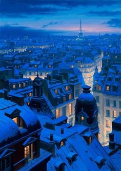 Snowy Paris, paint by Eugene Lushpin.