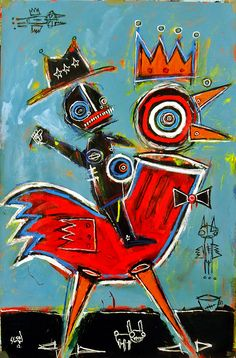 guy riding chicken    matt sesow recent paintings