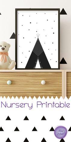 Boho Print | Woodland Nursery Decor, Nursery Print, Boho Nursery, Printable Art, baby Shower Gift, Black and White, Girl Nursery Decor, Digital Download