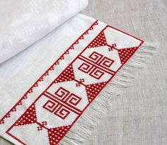 Karelian embroidery Birches, Folk Embroidery, Seas, Finland, Needlework, Ornaments, Food, Embroidery, Dressmaking