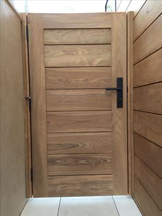 Custom Contemporary Wood Gate with Splined Body by Garden Passages