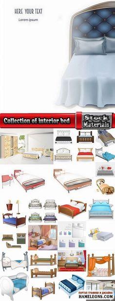 Мебель - уютные кровати для взрослых и людей - векторный клипарт   Collection of interior bed sleep cartoon