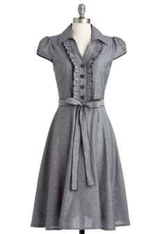 About the Artist Dress in Grey - Grey, Solid, Buttons, Ruffles, Casual, A-line, Cap Sleeves, Shirt Dress, Long, Belted, Cotton, Best Seller, Button Down, Collared, Fit & Flare, Work, Variation, Pinup, Fall, Folk Art, 50s, Valentine's, Spring, Top Rated, Gals