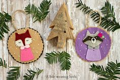 Adorable Felt Fox and Deer Ornaments