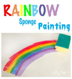 Rainbow Sponge Painting - a fun art for kids that explores colour mixing and blending.  It's a bit of a twist on traditional sponge painting and there are lots of ideas for developing the learning opportunities too.