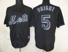 MLB New York Mets 5 David Wright Black Fashion Jerseys