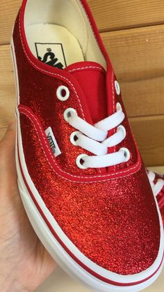 Jan 2020 - Red Vans Authentic trainers customised with a sparkly ruby red glitter coating Glitter Vans, Diy Glitter Sneakers, Bling Shoes, Red Shoes, Me Too Shoes, Custom Painted Shoes, Custom Shoes, Disney Painted Shoes, Nike Shoes
