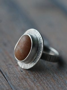 Beach pebble and sterling silver ring size 8 natural stone