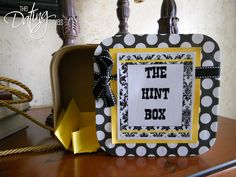 """Inside your Hint Box, be sure to include things that you LOVE. Then, whenever your spouse wants to do something nice for you, they can """"take a hint"""" from your box full of ideas!"""