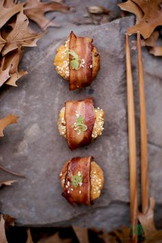 Bacon-wrapped shrimp toast.  I'm going to try this with either Ciabatta bread or English muffins instead of stale bread.  Sounds awesome!
