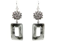 Love the marbled look with the white crystal! Perfect to wear to work for some business flare!   White Crystal Silver Tone Dangle Earrings