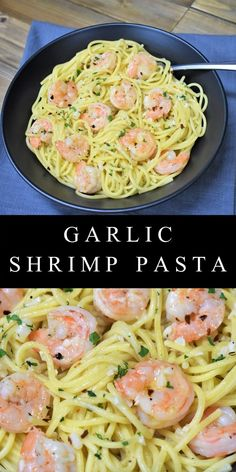 This garlic shrimp pasta recipe is one of our favorites for busy nights.This garlic shrimp pasta recipe is one of our favorites for busy nights. It's really easy to make and comes together quickly. In this pasta recipe, a generous amo Olive Oil Pasta Sauce, Garlic Butter Shrimp Pasta, Spicy Garlic Shrimp, Garlic Pasta Sauces, Shrimp And Bowtie Pasta Recipe, Healthy Shrimp Pasta, Lemon Butter Sauce Pasta, Shrimp Pasta Sauce, Shrimp Pasta Dishes