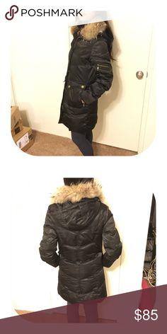 Black down jacket Gently worn. Super warm. Real fur on collar. Bundle discount 15% Jackets & Coats Puffers