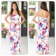 """NWT Floral Maxi Dress with Pockets NWT Strapless Floral Maxi Dress w/ Pockets. Beautiful and feminine! Ivory with brightly colored flower design. Material is very stretchy, polyester/spandex blend. Made in the USA! Fits true to size, Available in Small (0-4). Approx length is 50""""No Trades and No PaypalCover photos taken in outdoor lighting, 2nd pics in indoor lighting. Sold out of mediums, larges Dresses Maxi"""