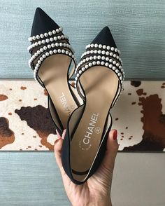 Chanel Shoes - I'm swooning over these black & white, pointy toe, pearl studded beauties! A class act.