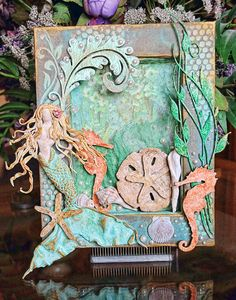 Greetings from sunny Florida, home of the Weeki-Wachee Mermaids! If you have never seen a mermaid, then next time you visit Florida, make it a point to go see them at Weeki-Wachee. They are fantas… Mixed Media Collage, Mixed Media Canvas, Collage Art, Mermaid Canvas, Mermaid Art, Mermaid Quilt, Altered Canvas, Altered Art, Beach Shadow Boxes