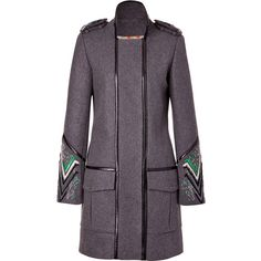 MATTHEW WILLIAMSON Grey-Multi Embroidered Leather Piped Military Coat ($2,265) ❤ liked on Polyvore