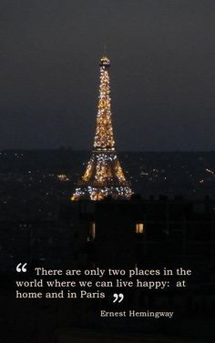 """♥️ """"If you are lucky enough to have lived in Paris as a young man, then wherever you go for the rest of your life, it stays with you, for Paris is a moveable feast."""" -Ernest Hemingway, A Moveable Feast. Paris, 1957."""