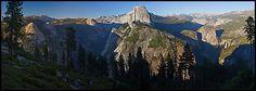 Tenaya Canyon, Half Dome, Nevada Falls, from Washburn Point. Yosemite National Park (Panoramic color)
