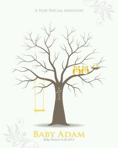 baby shower thumbprint tree guestbook poster/nursery wall art