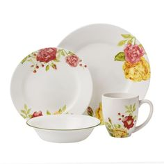 #Corelle Boutique™ Emma Jane 16-pc Dinnerware Set - Fresh roses in red, pink, and yellow adorn modern wide rim plates. This bold floral pattern is sure to brighten any table--from a casual summer get-together to an elegant soiree.// click through to shop.