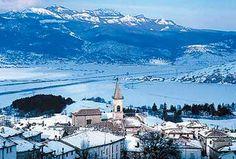 The main ski area in Abruzzo, between the five historic towns of Pescocostanzo, Palena, Rivisondoli, Castel di Sangro and Roccaraso, is the Cinquemiglia, a five-mile long, 1,200m-high plain. In this picture the ancient borgo of Pescocostanzo