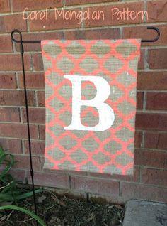 Custom burlap monogram garden flag by TheDeltaBelle on Etsy, $15.00