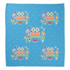 Colorful Geometric Owl with Butterfly and Flowers Bandana - flowers floral flower design unique style